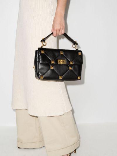 black Roman Stud large leather shoulder bag