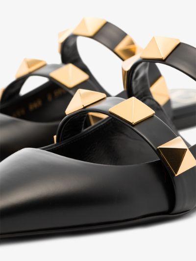 Black Roman Stud Leather Mules