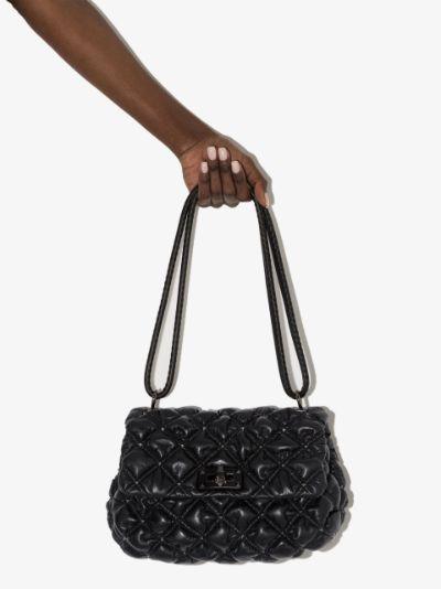 black SpikeMe medium leather shoulder bag
