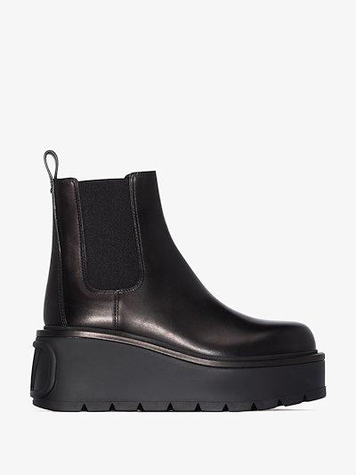 black uniqueform 85 flatform chelsea boots
