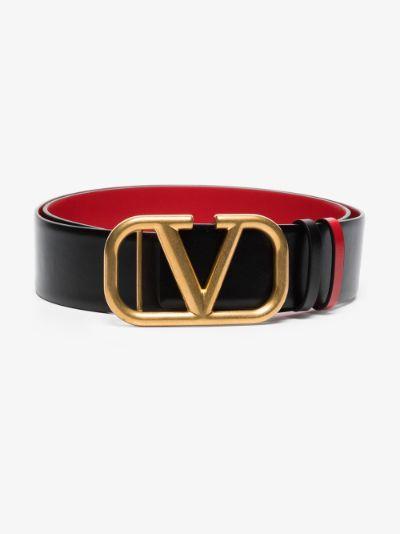black VLOGO leather belt