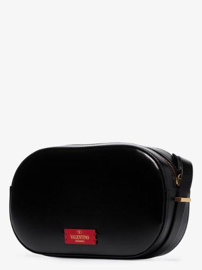 black VLOGO leather camera bag
