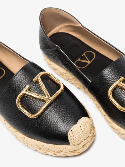 black VLOGO leather espadrilles
