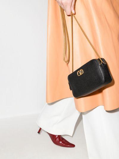 black VLOGO leather mini bag