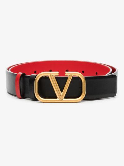 black VLOGO leather reversible belt