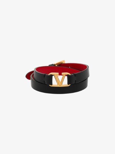 black VLOGO leather wrap bracelet