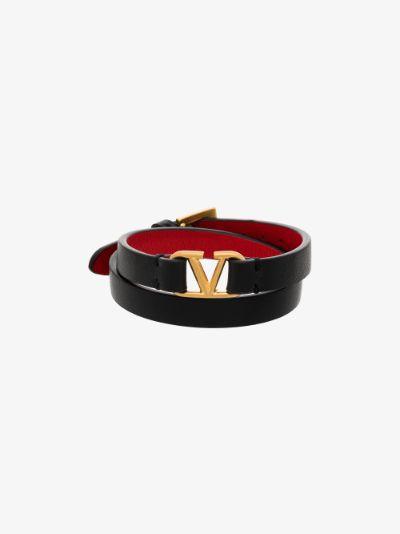 black VLOGO wrap leather bracelet