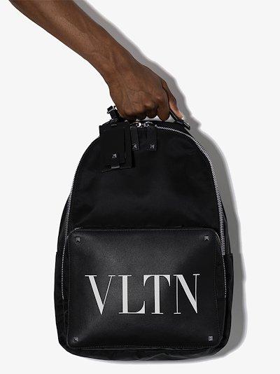 Black VLTN logo backpack