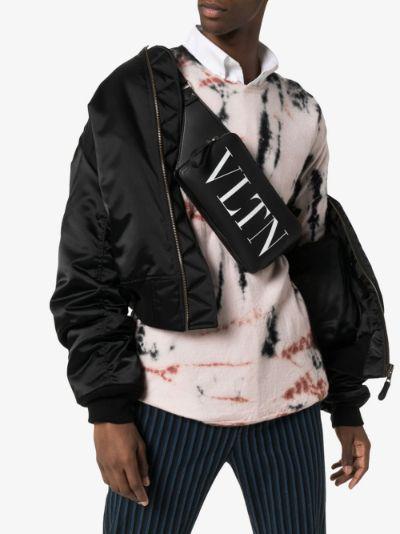 black VLTN logo cross body bag