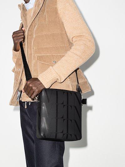 black VLTN logo leather cross body bag