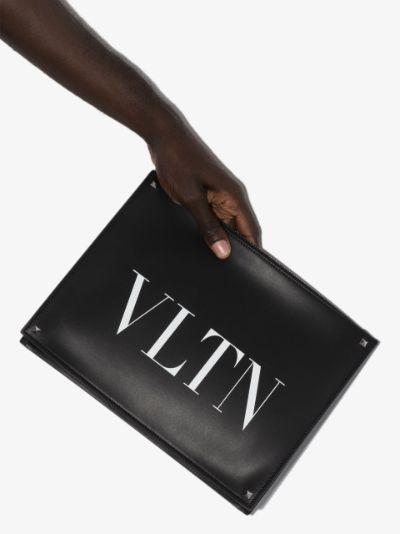 black VLTN logo leather pouch bag