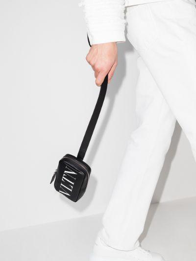 Black VLTN logo leather pouch