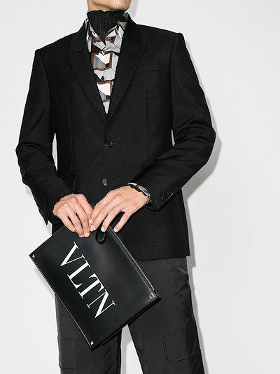 black VLTN Rockstud leather pouch bag