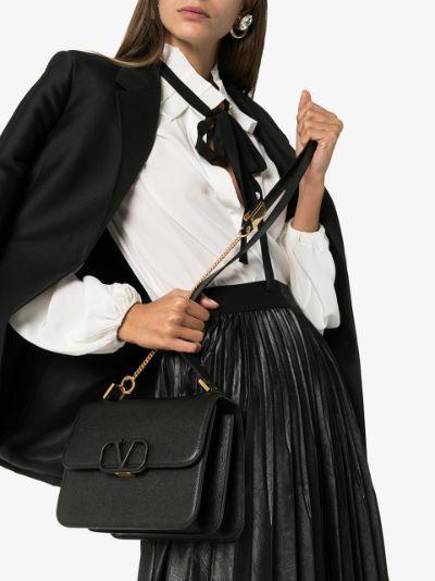 black VSLING medium leather shoulder bag