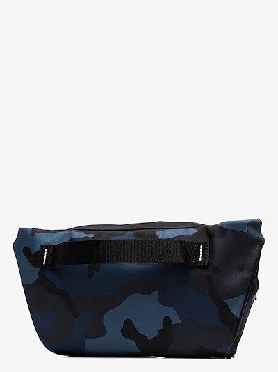 blue camouflage print cross body bag