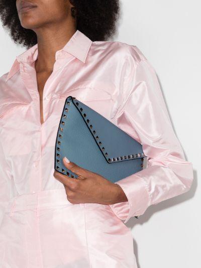blue Rockstud large envelope pouch bag