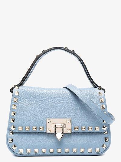 blue Rockstud small leather top handle bag