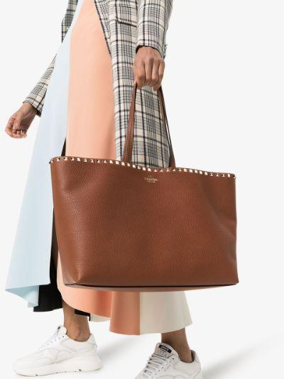 Brown Rockstud Large Leather Tote Bag