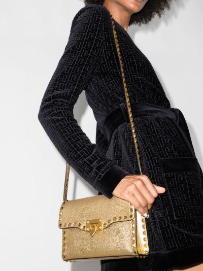 gold Rockstud leather shoulder bag