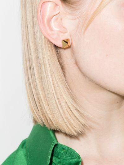 gold tone Rockstud earrings