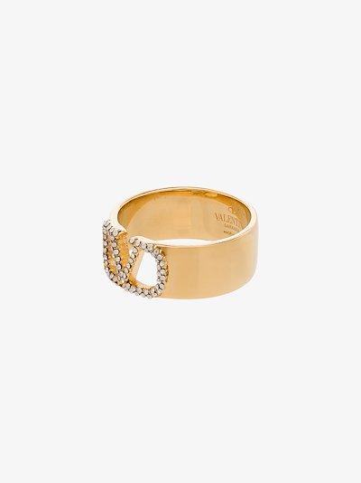 gold tone VLOGO crystal ring