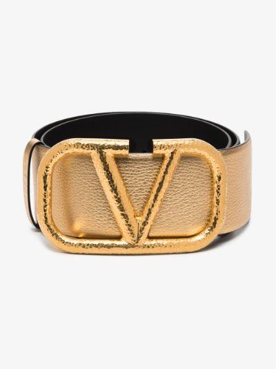gold tone VLOGO leather waist belt