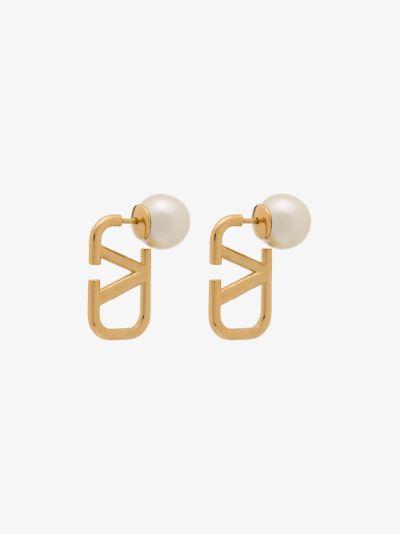 Gold Tone VLOGO Pearl Stud Earrings