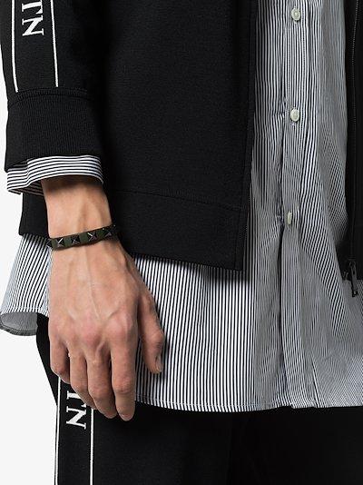 Green Rockstud Leather Bracelet