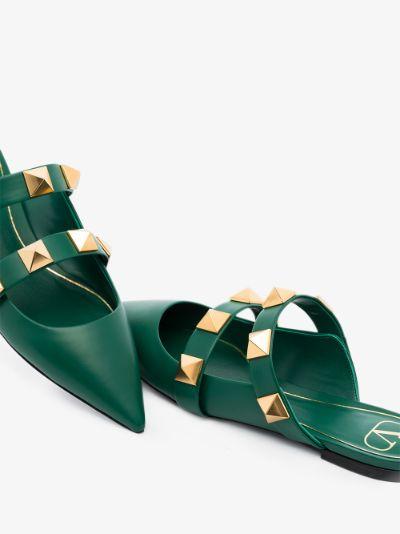 Green Roman stud leather mules
