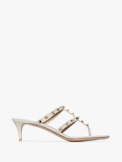 grey Rockstud 50 leather sandals