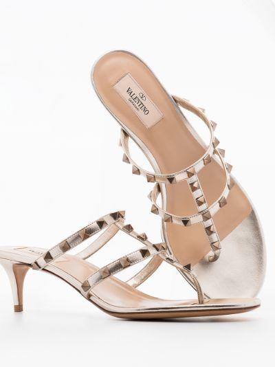 ivory Rockstud 50 leather sandals