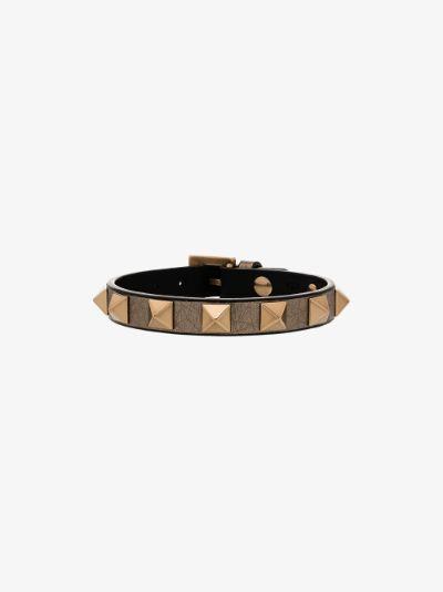 metallic rockstud leather bracelet