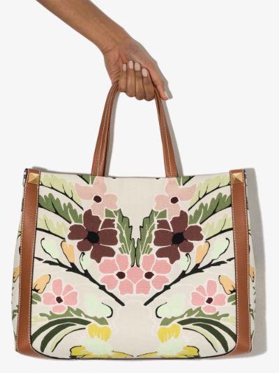 multicoloured small printed canvas tote bag