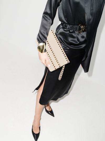 neutral Rockstud leather clutch bag