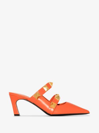 Orange Roman Stud 65 Leather Mules