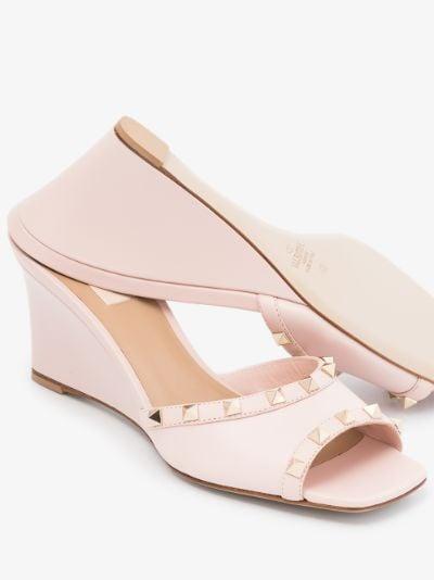 Pink Rockstud 70 leather wedge sandals