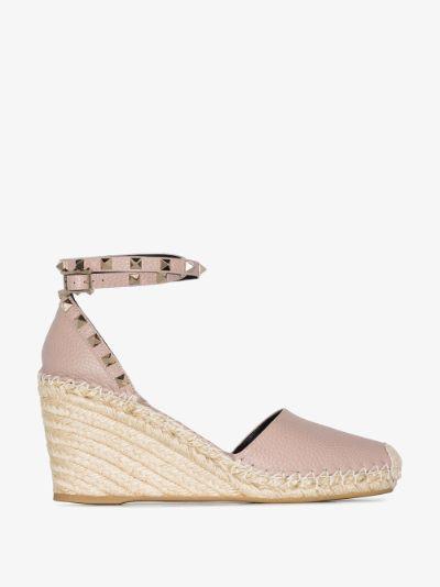 pink Rockstud 85 leather wedge espadrilles