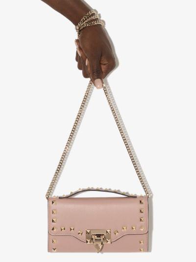 pink Rockstud mini leather cross body bag