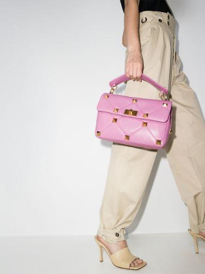 pink Roman Stud large leather shoulder bag