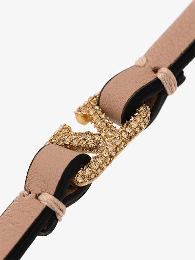 Pink VLOGO Crystal Leather Bracelet