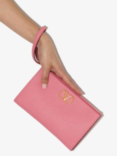 pink VLOGO leather clutch bag