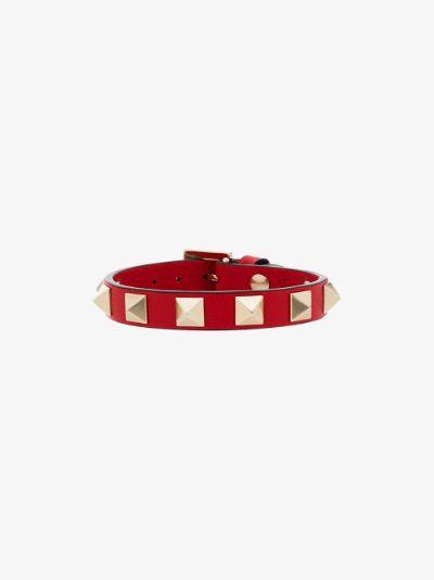 Red Rockstud leather bracelet