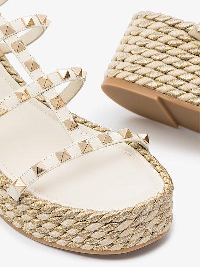 white Rockstud 55 espadrille sandals