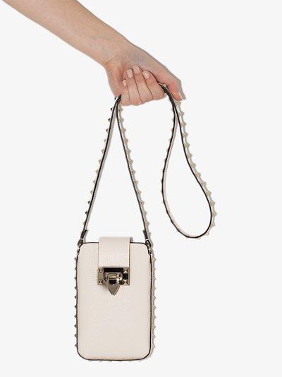 White rockstud leather phone bag
