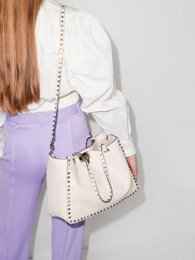 White Rockstud medium leather tote bag
