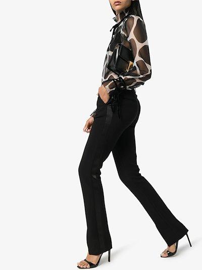 giraffe print chiffon blouse