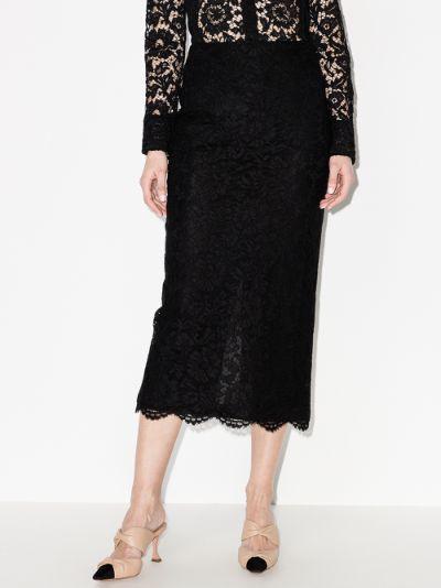 high waist lace midi skirt