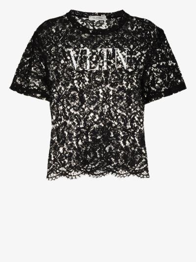 logo print lace top