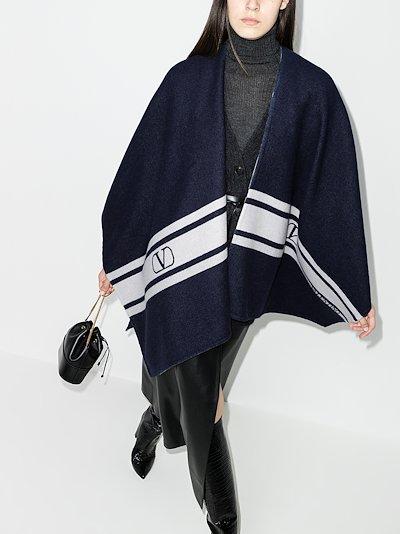 navy VLOGO stripe shawl