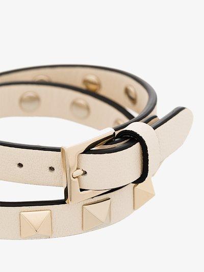 Neutral Rockstud Leather Wrap Bracelet